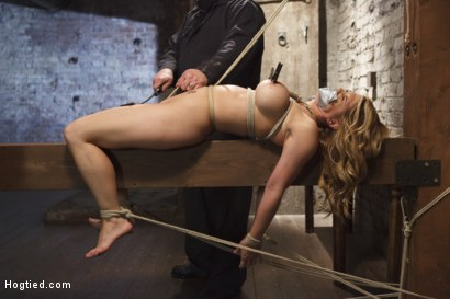 Photo number 9 from Big Tit Blonde Inescapable Orgasms shot for Hogtied on Kink.com. Featuring Sgt. Major and Carissa Montgomery in hardcore BDSM & Fetish porn.