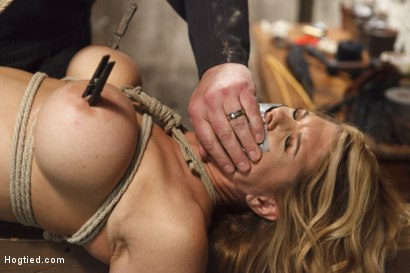 Photo number 8 from Big Tit Blonde Inescapable Orgasms shot for Hogtied on Kink.com. Featuring Sgt. Major and Carissa Montgomery in hardcore BDSM & Fetish porn.