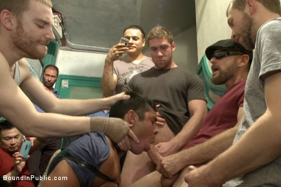 Photo number 3 from Muscled hunk tormented & gang banged in a stairwell full of horny men shot for Bound in Public on Kink.com. Featuring Seth Santoro, Brock Avery and Connor Maguire in hardcore BDSM & Fetish porn.