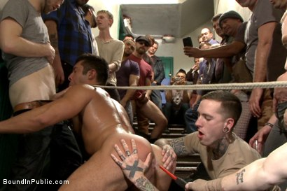 Photo number 12 from Muscled hunk tormented & gang banged in a stairwell full of horny men shot for Bound in Public on Kink.com. Featuring Seth Santoro, Brock Avery and Connor Maguire in hardcore BDSM & Fetish porn.