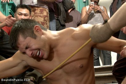 Photo number 5 from Muscled hunk tormented & gang banged in a stairwell full of horny men shot for Bound in Public on Kink.com. Featuring Seth Santoro, Brock Avery and Connor Maguire in hardcore BDSM & Fetish porn.