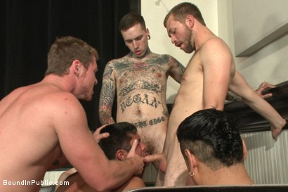 Photo number 5 from THERE'S NO MERCY IN FUCKING! shot for Bound in Public on Kink.com. Featuring Seth Santoro, Brock Avery and Connor Maguire in hardcore BDSM & Fetish porn.