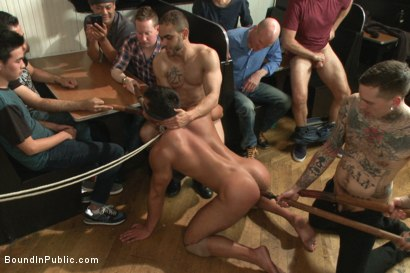 Photo number 3 from THERE'S NO MERCY IN FUCKING! shot for Bound in Public on Kink.com. Featuring Seth Santoro, Brock Avery and Connor Maguire in hardcore BDSM & Fetish porn.