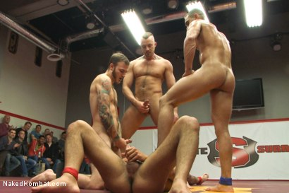 Photo number 13 from Brock Avery & Jessie Colter vs Billy & Seth Santoro - Live Match shot for Naked Kombat on Kink.com. Featuring Billy Santoro, Seth Santoro, Brock Avery and Jessie Colter in hardcore BDSM & Fetish porn.