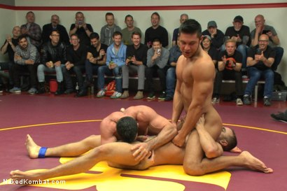 Photo number 2 from Brock Avery & Jessie Colter vs Billy & Seth Santoro - Live Match shot for Naked Kombat on Kink.com. Featuring Billy Santoro, Seth Santoro, Brock Avery and Jessie Colter in hardcore BDSM & Fetish porn.