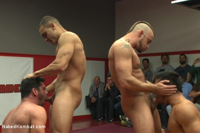 Photo number 7 from Brock Avery & Jessie Colter vs Billy & Seth Santoro - Live Match shot for Naked Kombat on Kink.com. Featuring Billy Santoro, Seth Santoro, Brock Avery and Jessie Colter in hardcore BDSM & Fetish porn.