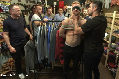 Photo number 2 from Greedy whore stuffed full of cock at a local clothing store shot for Bound in Public on Kink.com. Featuring Jessie Colter, Christopher Daniels and Trenton Ducati in hardcore BDSM & Fetish porn.