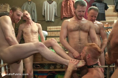 Photo number 2 from Muscled stud worships feet and takes cock after cock in bondage shot for Bound in Public on Kink.com. Featuring Jessie Colter, Christopher Daniels and Trenton Ducati in hardcore BDSM & Fetish porn.