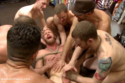 Photo number 13 from Muscled stud worships feet and takes cock after cock in bondage shot for Bound in Public on Kink.com. Featuring Jessie Colter, Christopher Daniels and Trenton Ducati in hardcore BDSM & Fetish porn.