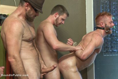 Photo number 7 from Muscled stud worships feet and takes cock after cock in bondage shot for Bound in Public on Kink.com. Featuring Jessie Colter, Christopher Daniels and Trenton Ducati in hardcore BDSM & Fetish porn.