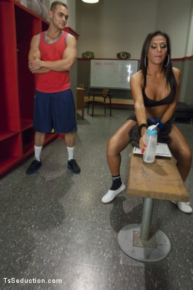Photo number 1 from Jaquelin Braxton trains the gym rat with Her Cock! shot for TS Seduction on Kink.com. Featuring Jaquelin Braxton and Brock Avery in hardcore BDSM & Fetish porn.