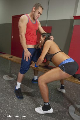 Photo number 2 from Jaquelin Braxton trains the gym rat with Her Cock! shot for TS Seduction on Kink.com. Featuring Jaquelin Braxton and Brock Avery in hardcore BDSM & Fetish porn.