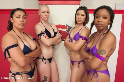 Photo number 2 from Bad Ass Wrestlers trap Noobes on the mat and finger fuck the fuck out of them shot for Ultimate Surrender on Kink.com. Featuring Ella Nova , Jayogen, Izamar Gutierrez and Sasha Banks in hardcore BDSM & Fetish porn.