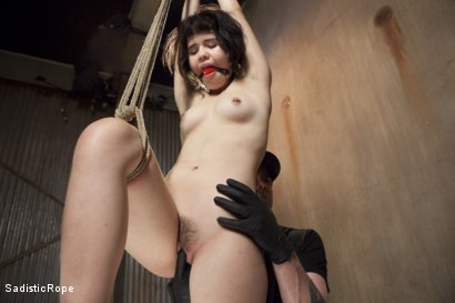 Photo number 4 from First Shoot Ever-19 yr old Learning bondage the hard way shot for Sadistic Rope on Kink.com. Featuring Yhivi in hardcore BDSM & Fetish porn.