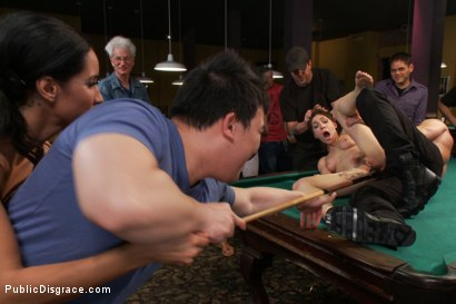 Photo number 11 from Lily LaBeau gets played in raunchy Pool Hall shot for Public Disgrace on Kink.com. Featuring Lily LaBeau, Bill Bailey and Isis Love in hardcore BDSM & Fetish porn.
