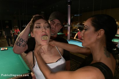 Photo number 2 from Lily LaBeau gets played in raunchy Pool Hall shot for Public Disgrace on Kink.com. Featuring Lily LaBeau, Bill Bailey and Isis Love in hardcore BDSM & Fetish porn.