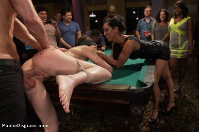 Photo number 12 from Lily LaBeau gets played in raunchy Pool Hall shot for Public Disgrace on Kink.com. Featuring Lily LaBeau, Bill Bailey and Isis Love in hardcore BDSM & Fetish porn.