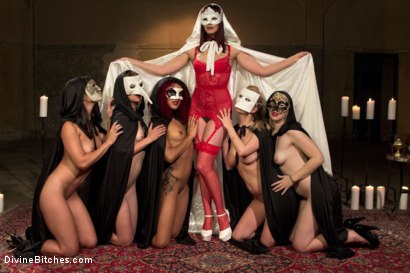 Photo number 2 from The Secret Femdom Society of Prostate Milking. shot for Divine Bitches on Kink.com. Featuring Cherry Torn, Maitresse Madeline Marlowe , Mona Wales, Daisy Ducati, Patrick Knight, Ella Nova  and Wenona in hardcore BDSM & Fetish porn.