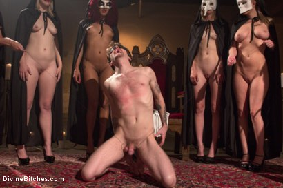 Photo number 3 from The Secret Femdom Society of Prostate Milking. shot for Divine Bitches on Kink.com. Featuring Cherry Torn, Maitresse Madeline Marlowe , Mona Wales, Daisy Ducati, Patrick Knight, Ella Nova  and Wenona in hardcore BDSM & Fetish porn.