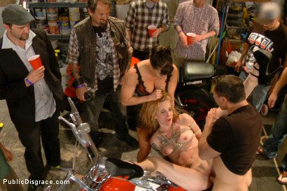 Photo number 11 from Pounded in a biker bar- First ever boy/girl scene! shot for Public Disgrace on Kink.com. Featuring Ariel X, John Strong and Jeze Belle in hardcore BDSM & Fetish porn.