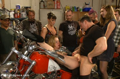 Photo number 8 from Pounded in a biker bar- First ever boy/girl scene! shot for Public Disgrace on Kink.com. Featuring Ariel X, John Strong and Jeze Belle in hardcore BDSM & Fetish porn.