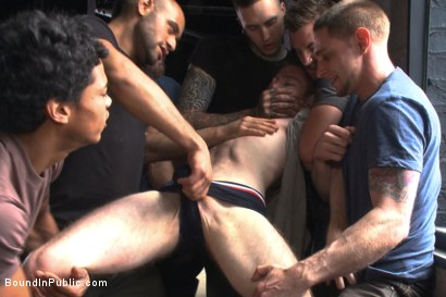 Photo number 1 from We're going to get our money's worth, one way or another... shot for Bound in Public on Kink.com. Featuring Dayton O'Connor, Seamus O'Reilly and Leo Forte in hardcore BDSM & Fetish porn.