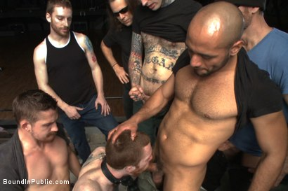 Photo number 13 from We're going to get our money's worth, one way or another... shot for Bound in Public on Kink.com. Featuring Dayton O'Connor, Seamus O'Reilly and Leo Forte in hardcore BDSM & Fetish porn.