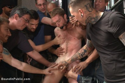 Photo number 3 from We're going to get our money's worth, one way or another... shot for Bound in Public on Kink.com. Featuring Dayton O'Connor, Seamus O'Reilly and Leo Forte in hardcore BDSM & Fetish porn.