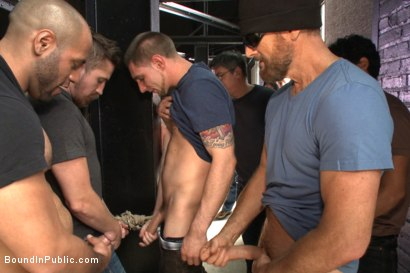 Photo number 7 from We're going to get our money's worth, one way or another... shot for Bound in Public on Kink.com. Featuring Dayton O'Connor, Seamus O'Reilly and Leo Forte in hardcore BDSM & Fetish porn.