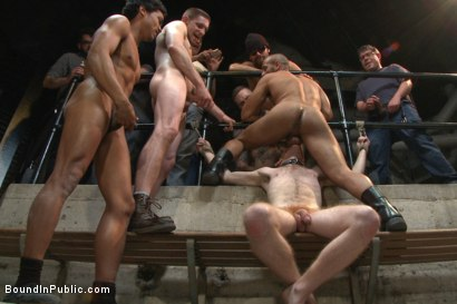 "Photo number 12 from ""I PROMISE I'LL PAY!!!"" shot for Bound in Public on Kink.com. Featuring Dayton O'Connor, Seamus O'Reilly and Leo Forte in hardcore BDSM & Fetish porn."