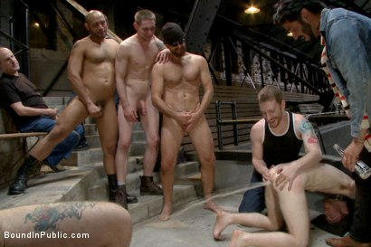 "Photo number 1 from ""I PROMISE I'LL PAY!!!"" shot for Bound in Public on Kink.com. Featuring Dayton O'Connor, Seamus O'Reilly and Leo Forte in hardcore BDSM & Fetish porn."