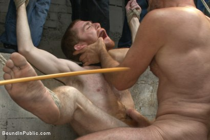 "Photo number 5 from ""I PROMISE I'LL PAY!!!"" shot for Bound in Public on Kink.com. Featuring Dayton O'Connor, Seamus O'Reilly and Leo Forte in hardcore BDSM & Fetish porn."