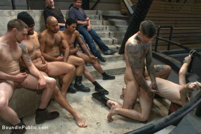 "Photo number 10 from ""I PROMISE I'LL PAY!!!"" shot for Bound in Public on Kink.com. Featuring Dayton O'Connor, Seamus O'Reilly and Leo Forte in hardcore BDSM & Fetish porn."