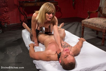 Photo number 13 from ELECTRO FEMDOM: Mona Wales Electrically Teases and Tortures Slave Boy shot for Divine Bitches on Kink.com. Featuring Mona Wales and Brock Avery in hardcore BDSM & Fetish porn.