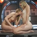 Mona Wales & Roxy Rox hose down each other, the machines & the set with their juices