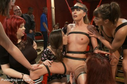 Photo number 4 from Hot and horny blonde up to a few tricks shot for Public Disgrace on Kink.com. Featuring Roxy Rox , John Strong and Ariel X in hardcore BDSM & Fetish porn.