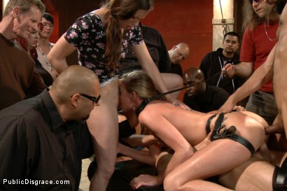 Photo number 15 from Hot and horny blonde up to a few tricks shot for Public Disgrace on Kink.com. Featuring Roxy Rox , John Strong and Ariel X in hardcore BDSM & Fetish porn.