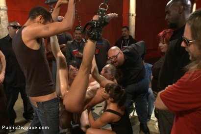 Photo number 2 from Hot and horny blonde up to a few tricks shot for Public Disgrace on Kink.com. Featuring Roxy Rox , John Strong and Ariel X in hardcore BDSM & Fetish porn.