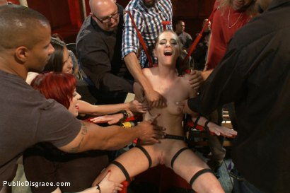 Photo number 7 from Hot and horny blonde up to a few tricks shot for Public Disgrace on Kink.com. Featuring Roxy Rox , John Strong and Ariel X in hardcore BDSM & Fetish porn.