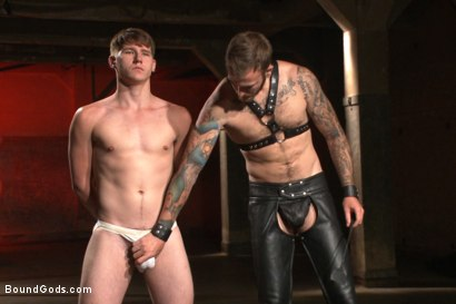 Photo number 1 from Slave Boy Initiation shot for Bound Gods on Kink.com. Featuring Christian Wilde and Dakota Wolfe in hardcore BDSM & Fetish porn.