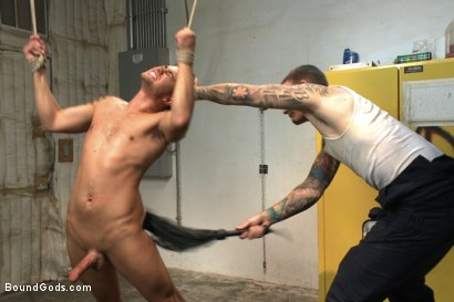 """Photo number 8 from """"Time for you to learn your lesson punk!"""" shot for Bound Gods on Kink.com. Featuring Christian Wilde and Leo Sweetwood in hardcore BDSM & Fetish porn."""