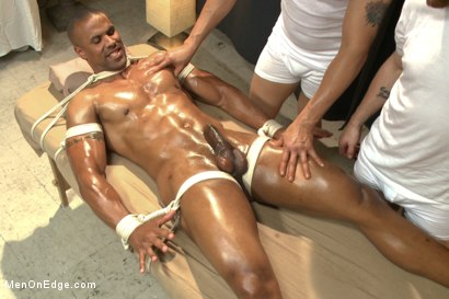 Photo number 5 from Muscle hunk gets a four hand massage with happy and unhappy endings shot for Men On Edge on Kink.com. Featuring Robert Axel in hardcore BDSM & Fetish porn.