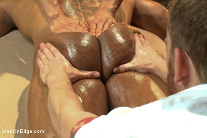 Photo number 2 from Muscle hunk gets a four hand massage with happy and unhappy endings shot for Men On Edge on Kink.com. Featuring Robert Axel in hardcore BDSM & Fetish porn.