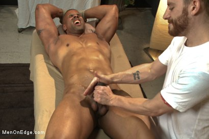 Photo number 14 from Muscle hunk gets a four hand massage with happy and unhappy endings shot for Men On Edge on Kink.com. Featuring Robert Axel in hardcore BDSM & Fetish porn.
