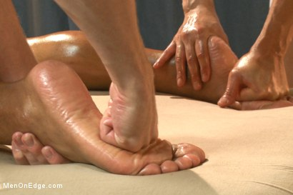 Photo number 4 from Muscle hunk gets a four hand massage with happy and unhappy endings shot for Men On Edge on Kink.com. Featuring Robert Axel in hardcore BDSM & Fetish porn.