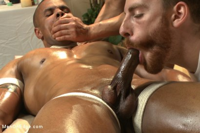 Photo number 6 from Muscle hunk gets a four hand massage with happy and unhappy endings shot for Men On Edge on Kink.com. Featuring Robert Axel in hardcore BDSM & Fetish porn.