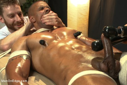 Photo number 7 from Muscle hunk gets a four hand massage with happy and unhappy endings shot for Men On Edge on Kink.com. Featuring Robert Axel in hardcore BDSM & Fetish porn.