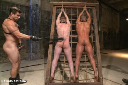 Photo number 6 from Are you a happy cow or a sad cow? - Live Show shot for Bound Gods on Kink.com. Featuring Van Darkholme, Trenton Ducati, Damien Moreau and Brock Avery in hardcore BDSM & Fetish porn.