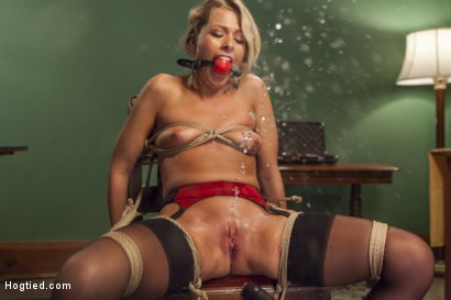 Photo number 5 from Hot Blonde with Petite Pussy Bound and Banged in Pool Hall shot for Hogtied on Kink.com. Featuring Zoey Monroe in hardcore BDSM & Fetish porn.