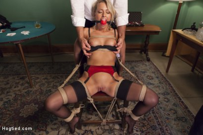 Photo number 3 from Hot Blonde with Petite Pussy Bound and Banged in Pool Hall shot for Hogtied on Kink.com. Featuring Zoey Monroe in hardcore BDSM & Fetish porn.